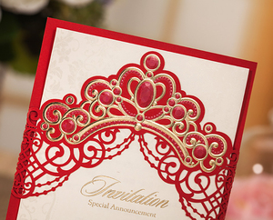 Image 5 - [Princess Dream] 20Pcs/Lot Pink & Red Foil Crown Laser Cut Wedding Invitation, Invitation Card with Envelopes for Quinceanera