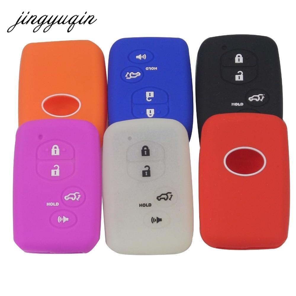 4 Button Pink Silicone Cover Smart Key Case For Toyota RAV4 Prius Avalon Corolla