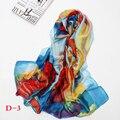 Pañuelos de seda Clásico de La Moda Impreso Mantón de La Bufanda de Seda Femenina de Gran Tamaño 190*100 CM de alta calidad de la bufanda de seda larga