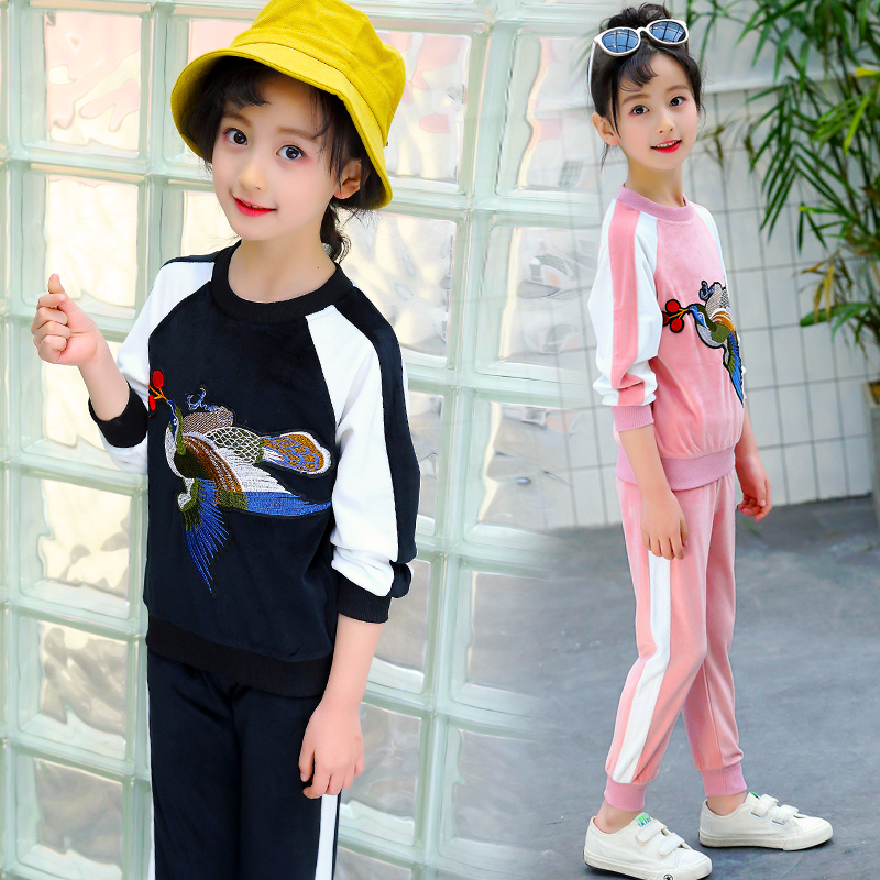 Spring&Autumn Girls Clothing Sets 2018 New Active Boys Clothing Sets Children Clothing Cartoon Embroidery Sweatshirts+Pants Suit 2018 autumn