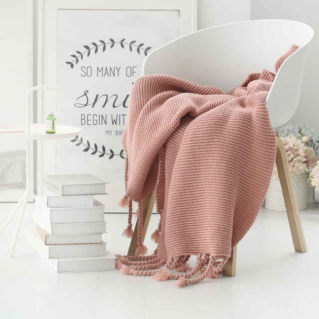 Collalily Sofa Throw Blanket Pink Nordic Solid Modern Bedding Bed Soft Rug Home Camping