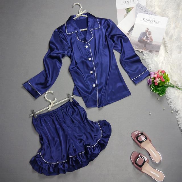 7286cdd38a Kobiety Silk Satin Piżamy Pijamas Zestawy Odzieży Damskiej Garnitur  Homewear Piżamy Długie Rękawy Koszula i Spodnie