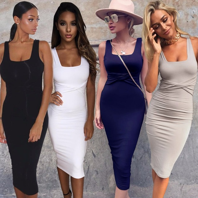 2017 Summer Women Sexy Sleeveless White Tank Bodycon Dress Cross Criss Cotton Blend Club Party Slim Dresses vestidos Black Dress
