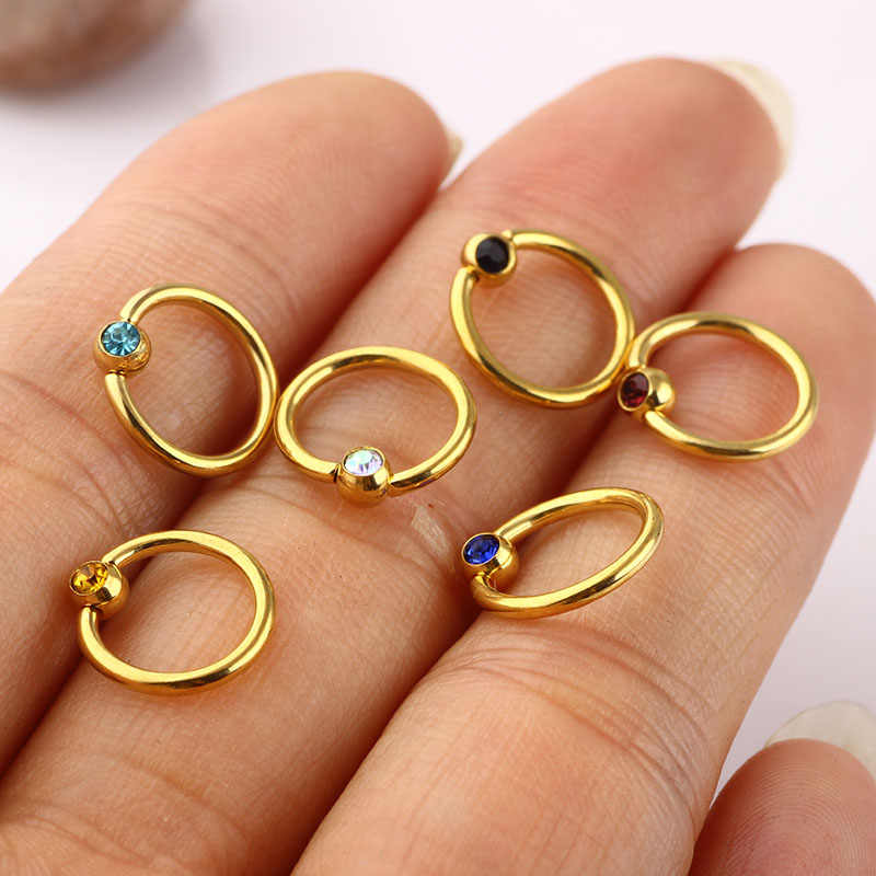 Ticncifbyjs 100pcs Body Jewelry Piercing Crystal Nose Ring Hoop Stud Stainless Steel 14g Pirsing Ombligo Helix Cartilage Earring Aliexpress