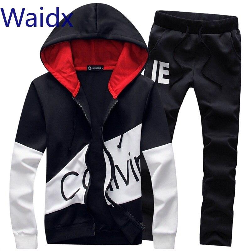 Waidx Sport Suit Tracksuit Outfit 5xl 2 Piece Set Hoodies Long Pants Warm Mens