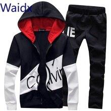 Conjunto de traje de chándal para hombre Waidx 5xl conjunto de 2 piezas con capucha y pantalones largos ropa de hombre abrigada envío de la gota