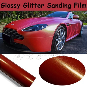Glossy Metallic Red Vinyl For Car Wrap With Air release Glitter Sparkle Pearl sandy Vehicle styling Size 1.52*20M/Roll
