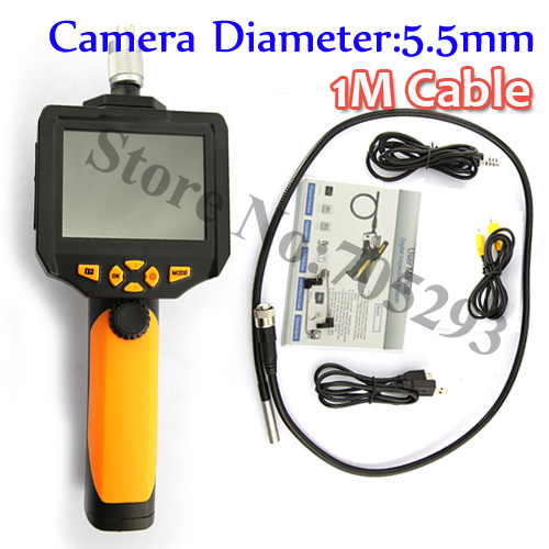 3.5Inch LCD borescope 5.5mm Inspection Endoscope Snake Camera 720P HD Detachable Monitor 1W CREE Flashlight Support SD Recorde