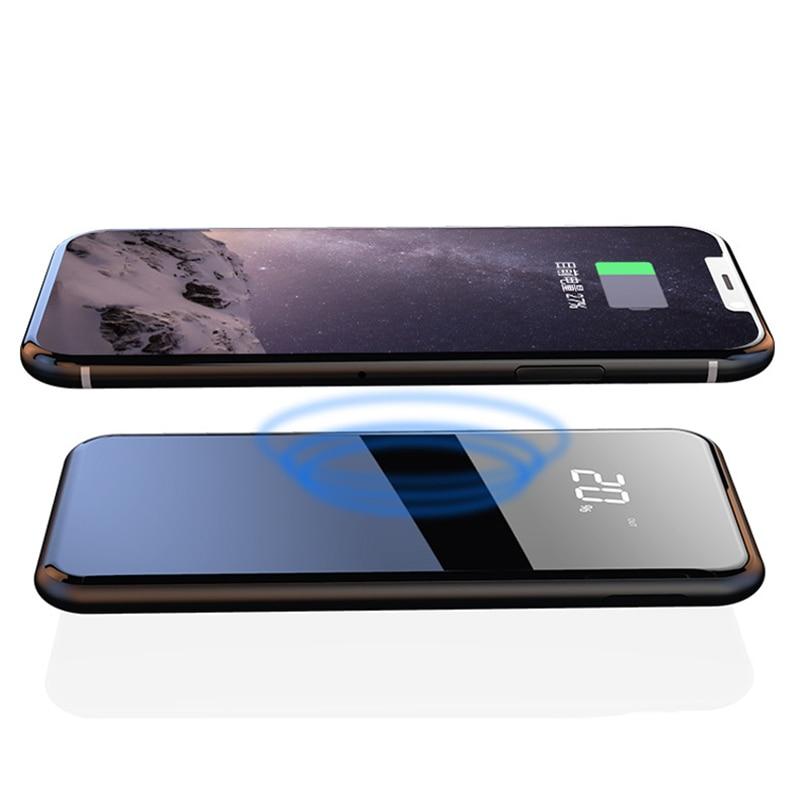 LCD Dual USB 10000mAh Qi Wireless Charger Power