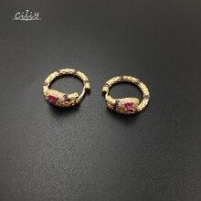 Ciliy 2018 New Earring Fashion Circle Snake Earrings Round Zirconia Pendant Metal Casual Geometric Jewelry A0118OD