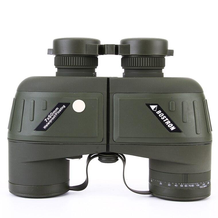 High Quality HD 7x50 10x50 Zoom BAK4 Waterproof Military Marine Binocular with Compass Telescope for Ranging Hunting Outdoor