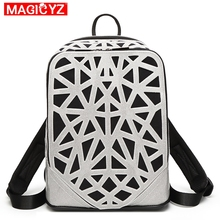 MAGICYZ 2019 Women PVC Leather Backpacks For Teenage Girls School Bags Hollow Female Sac a Dos Travel Mochilas Ladies Bagpack