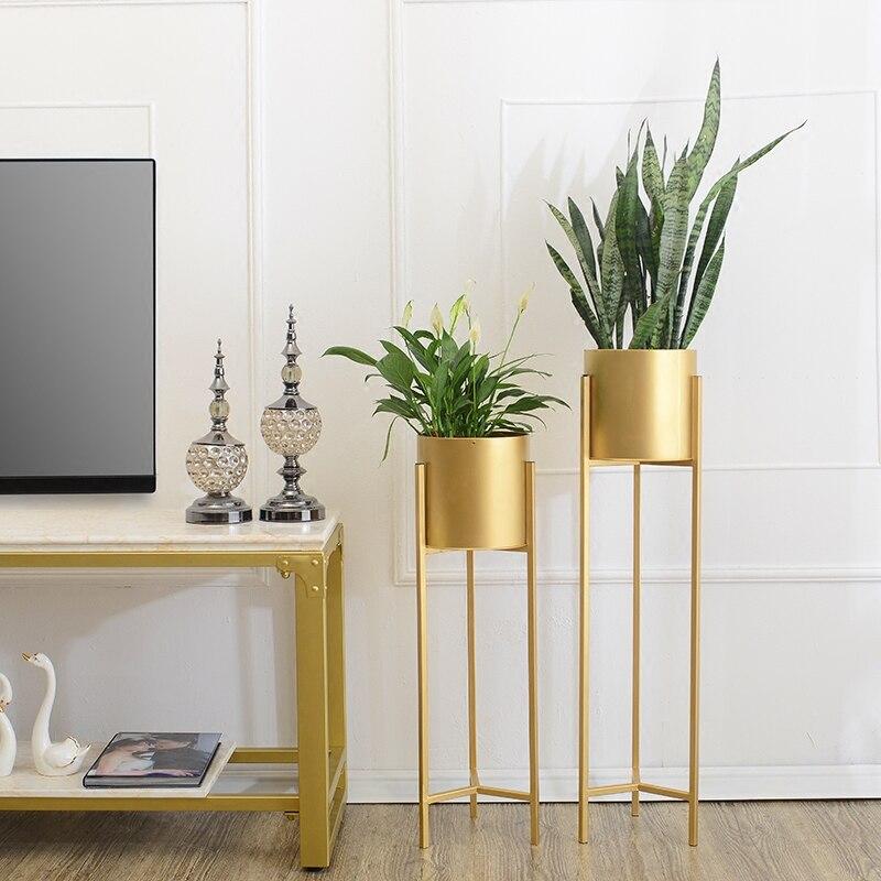 Suporte de rack de ferro de ouro vaso de flor suculenta erva pote metal plantador - 2