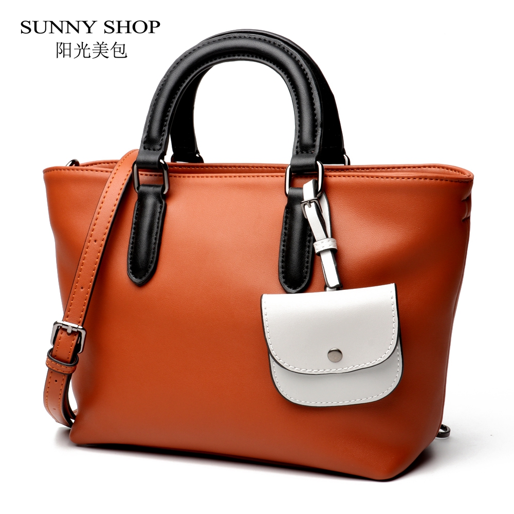 SUNNY SHOP Luxury Top-handle bags Casual Genuine Leather Handbags and Purse Brand Designer Shoulder Bags With A Small Wallet