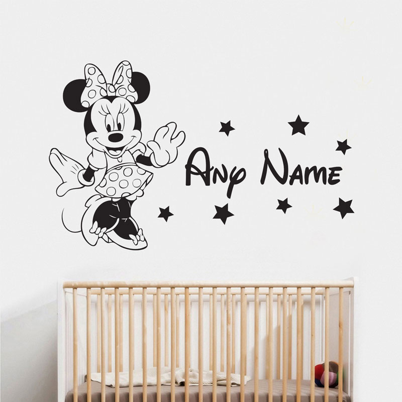 Personalised Girls Name Cartoon Minnie Mouse Vinyl Wall Sticker Nursery Room Decal Bedro ...
