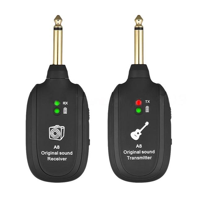 UHF, sistema inalámbrico de transmisión de guitarra, receptor con recargable incorporado