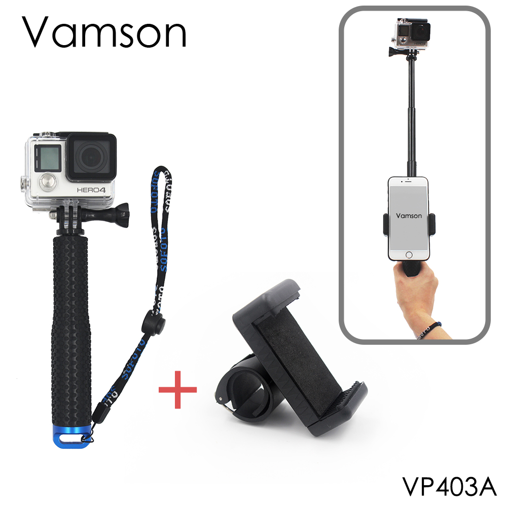 Vamson for Go Pro 6 Action Camera Surfing Diving Extendable Self selfie Stick Monopod For GoPro Hero 5 4 for yi 4K