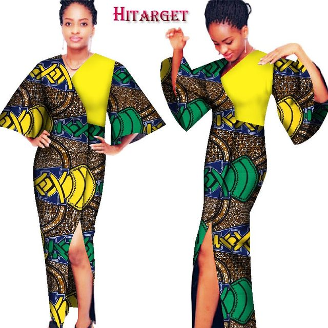 Fashion Autumn African Dresses for Women Bazin Kanga Clothing Dashiki  African Wax Print Big Sleeve Splice a8ef77068938