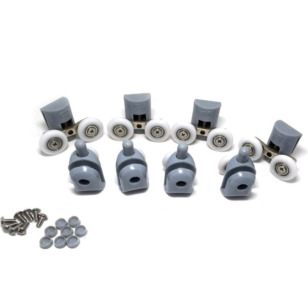 8x Top & Bottom Shower Door ROLLERS / Runners / Pulleys / Wheels Replacement Parts 23mm Diameter