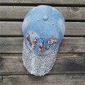 Женщины осень VIP хлопок джинсовые бейсболки девочек и девушек bling диаманта bling snapback hat
