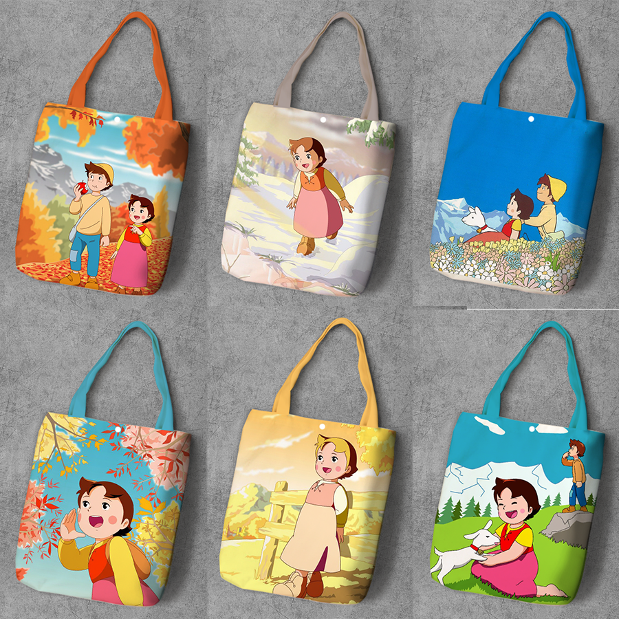 Heidi Girl Cartoon Printed Recycle Canvas Shopping Bag Large Capacity Customize Tote Fashion Ladies Casual Shoulder Bags