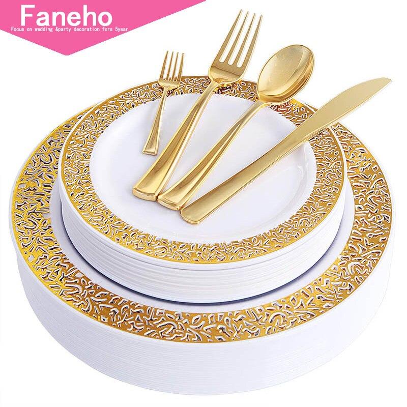 150 PCS الذهب أطباق بلاستيكية مع المتاح البلاستيك الفضيات ، الدانتيل تصميم أدوات مائدة من البلاستيك مجموعات تشمل 25 أطباق عشاء ، 25 سال أدوات مائدة للحفلات للاستخدام مرة واحدة المنزل والحديقة -