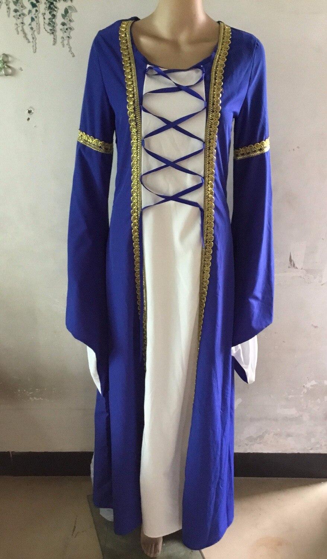 women long medieval dress BALL gown green blue renaissance dress ...