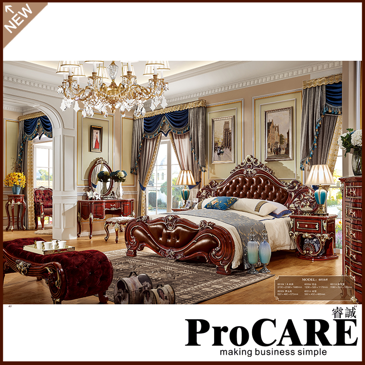 american bedroom furniture solid wood bedroom set crystal king size bed(China)