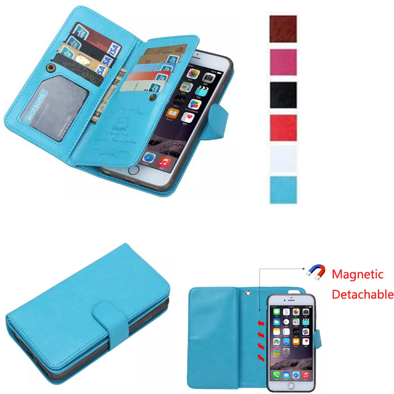 For iPhone 6s Case Purse Pouch Cover For iPhone 5 5S SE 6 6S 7 Plus 2in1 Magnetic Removable Phone Cases 9 Card Slots Photo Frame