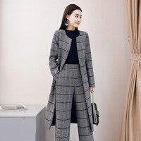 2019 новый британский ретро клетчатый офисный женский шерстяной наряд с поясом Длинная Верхняя одежда Пальто широкие брюки элегантный женск