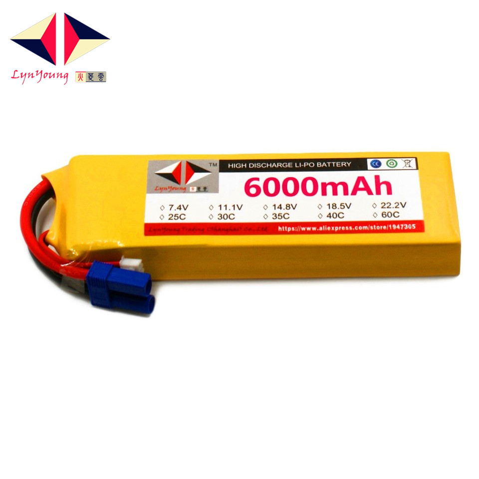 LYNYOUNG rc truck lipo battery 11.1V 6000mAh 3S 40C max 80c for Airplane Racing Car Helicopter Drones UAV