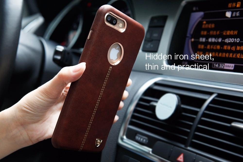 imágenes para Nillkin englon lindo para iphone 7 plus funda de cuero de la pu de la vendimia contraportada para iphone 7 plus trabajo caso con soporte para teléfono magnética
