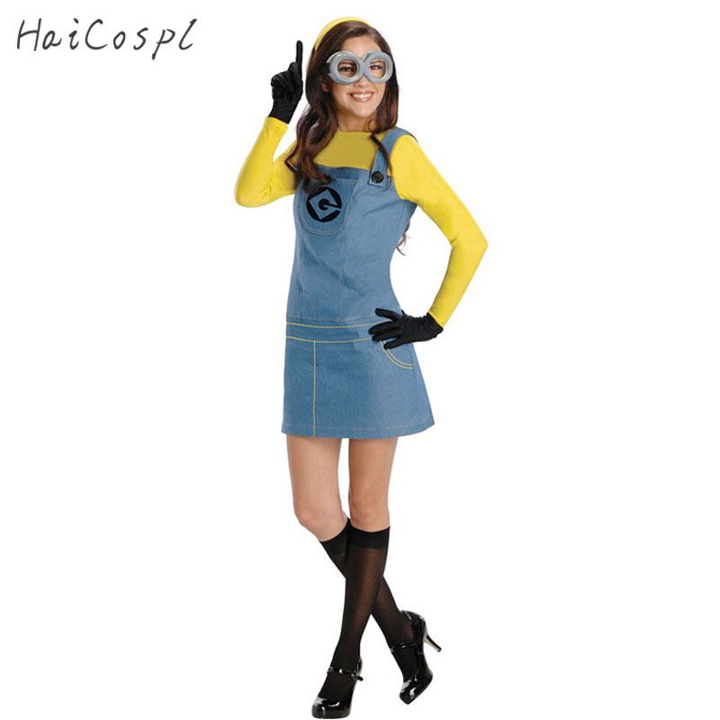 Femmes Halloween Costume Adulte Salopette Despicable Me Anime Cosplay Femelle Robe Jeu de Rôle Jeux Parti Déguisement Fantaisie