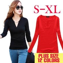 Long Sleeve V-Neck Shirt Women Casual Plus Size Blouses Knitted Body Tops Camisas Roupas Blusas Femininas 2015