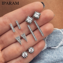IPARAM 5 Pair/Set Intensive Crystal Geometric shape Earrings Woman Charm Boucle D'oreille Jewelry Dazzling Earring Brincos
