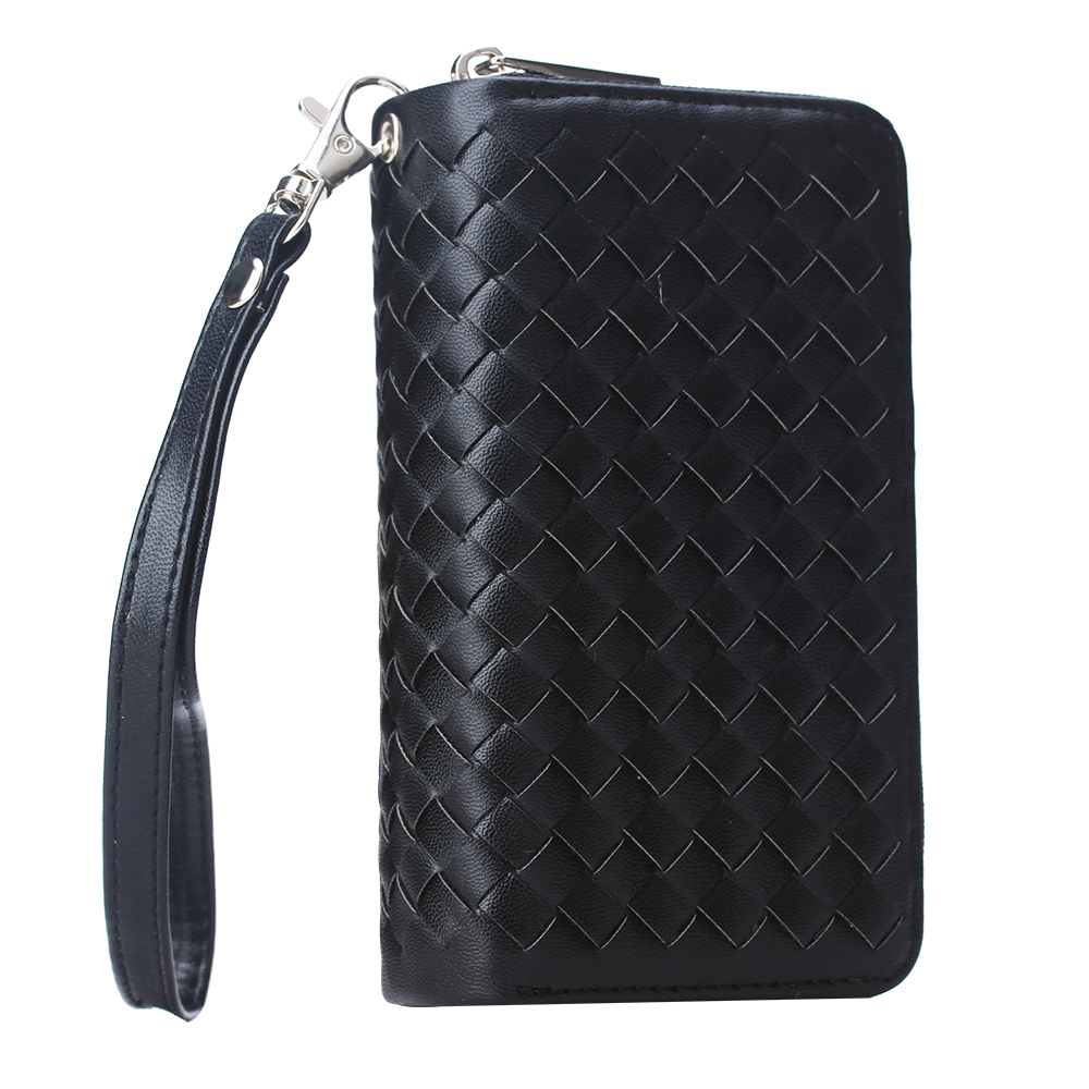 Luxury Woven <font><b>Leather</b></font> Zipper Wallet <font><b>Case</b></font> For Samsung <font><b>Galaxy</b></font> S20 S8 <font><b>S9</b></font> S10 Plus S7edge Note 4 5 8 9 Note 10 Pro Magnet Flip Cover image