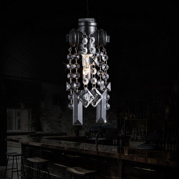 Loft Style Water Pipe Lamp Edison Crystal Pendant Light Fixtures Vintage Industrial Lighting For Dining Room Droplight Lamparas direction booster pump reorder rate up to 80% booster pump for fire fighting