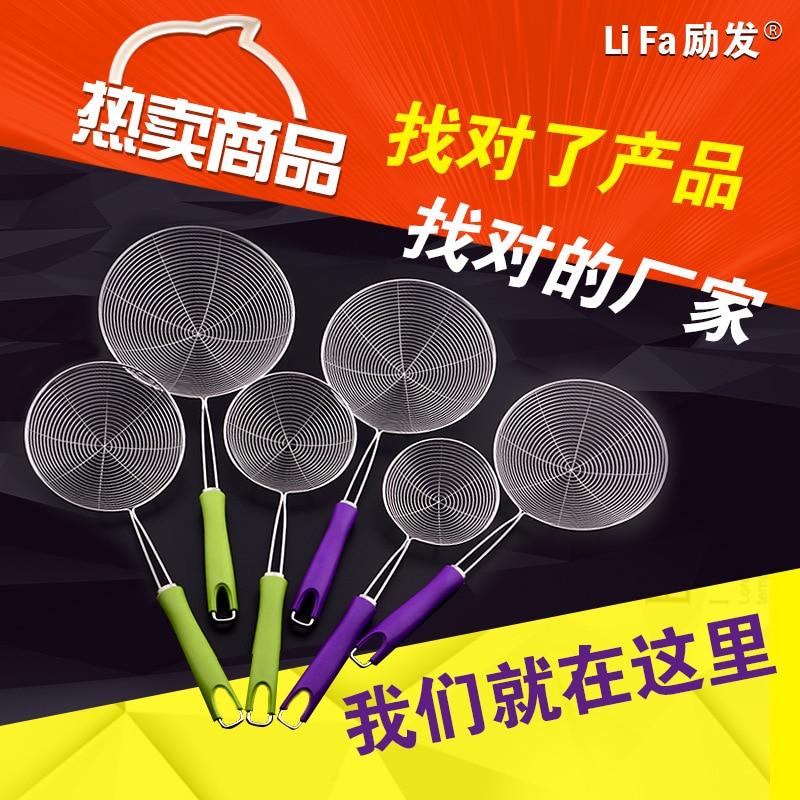 ФОТО Jieyang stainless steel wire factory direct color handle leak 14CM 16CM 18CM 20CM styles