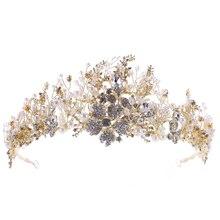 hot deal buy new vintage gold crystal wedding crown tiaras baroque rhinestones pearl diadem for women bride wedding hair jewelry accessories