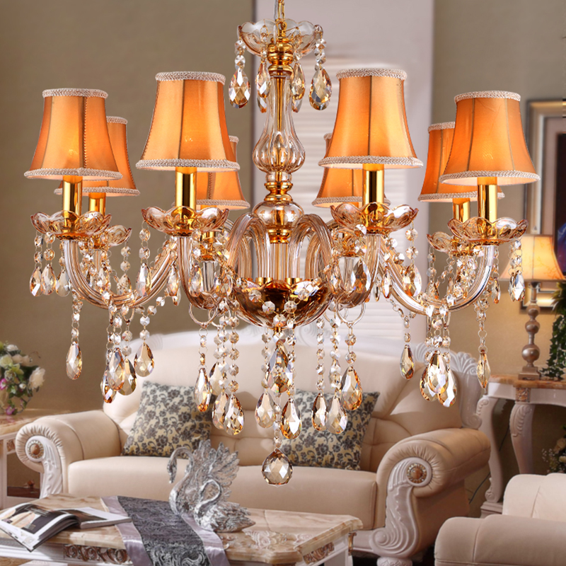 ФОТО Crystal Chandelier Lighting Amber Glass Chandeliers Pendant Hanging Light Lustres De Cristal Lamp Home Hotel Lighting Fixture