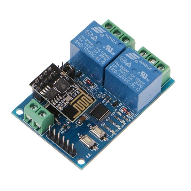 WIFI Relay Module ESP8266 IOT APP Controller 2-Channel For Smart Home 12V T25 Drop ship dc 5v esp8266 wifi relay module things smart home remote control switch phone app esp 01 wireless wifi module