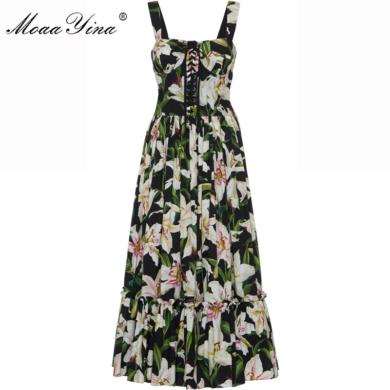 Moaa Yina Fashion Designer Runway dress Spring Summer Women Dress Spaghetti strap Lace Up lily Floral Print Cotton Dresses-in Dresses from Women's Clothing    1