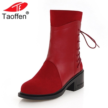 TAOFFEN Fashion Women High Heel Boots Zipper Bowknot Warm Fur Shoes Women Winter Mid Calf Boots Patchwork Footwear Size 33-43
