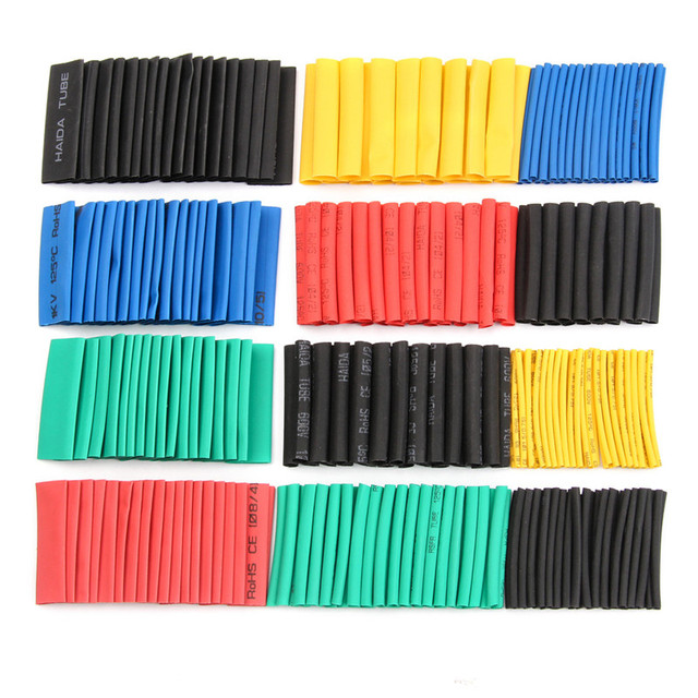 70/127/164/328/530Pcs Assorted Polyolefin Heat Shrink Tube Cable Sleeves Wrap Wire Set 8 Size Multicolor/Black