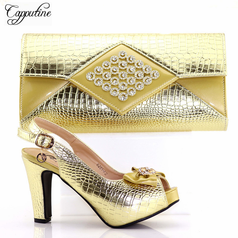 Capputine African Summer Gold Color Sandals And Bag Set Italian Fashion PU Pumps Shoes And Bag Set For Party On Stock TX-81 capputine 2018 summer african rhinestone shoes and bag set italian ladies high heels shoes and bag set for party tx 1136