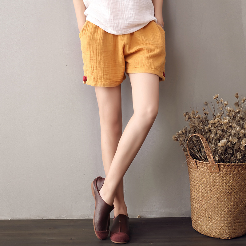 Johnature Casual   Shorts   2018 New Summer Women Cotton Linen Thin Comfortably Soft Breathable Solid Loose Pockets Brief   Shorts