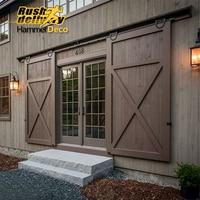 Horseshoe U Shaped Modern Barn Wood Interior Double Sliding Door Hardware Roller Closet Track Set Kit
