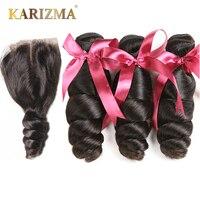 Karizma Brazilian Hair Weave 3 Bundles With Lace Closure Middle Part Loose Wave Human Hair Bundles