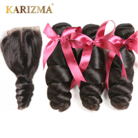 Karizma Brazilian Hair Weave 3 Bundles With Lace Closure Middle Part Loose Wave Human Hair Bundles