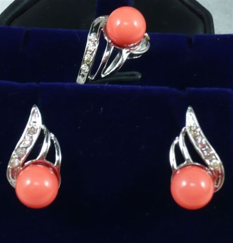 Prett Lovely Womens Wedding Noble jewelry 11-12MM Pink coral Earring Ring Jewelry Set AAA
